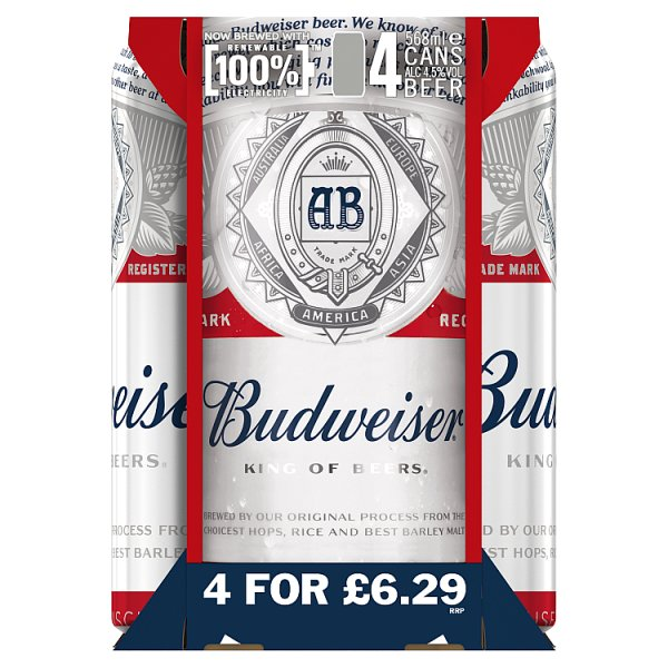 Budweiser Lager Beer Cans 4 - Case of 6, Beer by Drinks Shop
