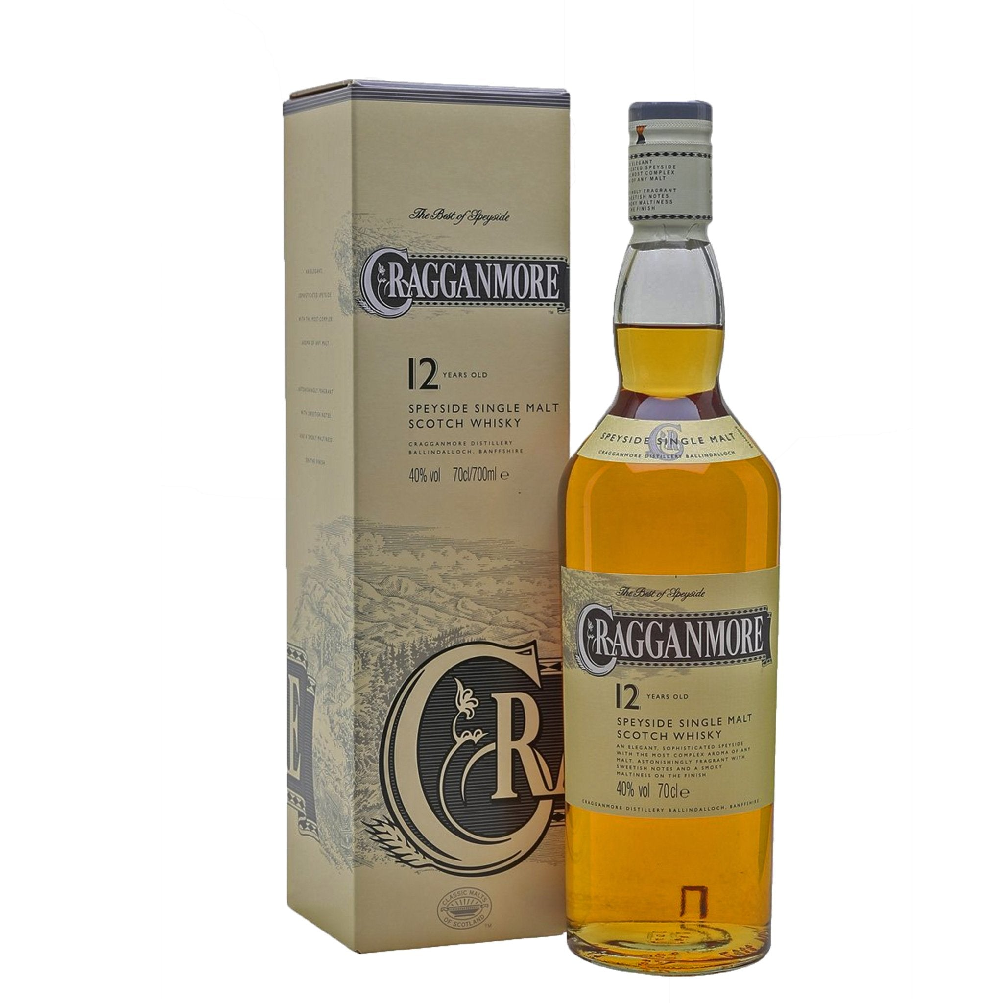 Cragganmore 12 Years Old Single Malt Scotch Whisky 70cl, Liquor & Spirits by Drinks Shop