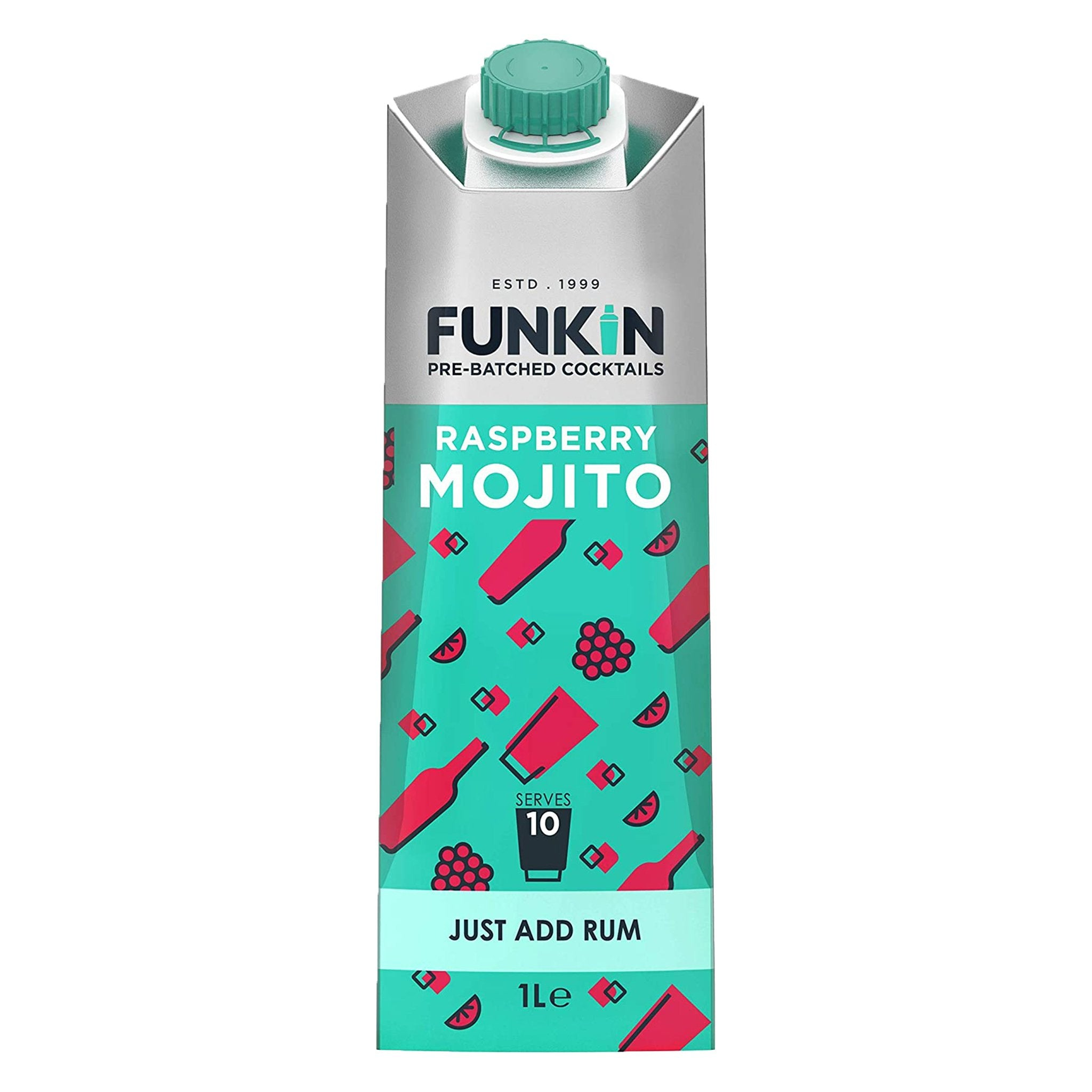 Funki̇n Pre-Batched Cocktails Raspberry Mojito 1L, Cocktail Mixes by Drinks Shop