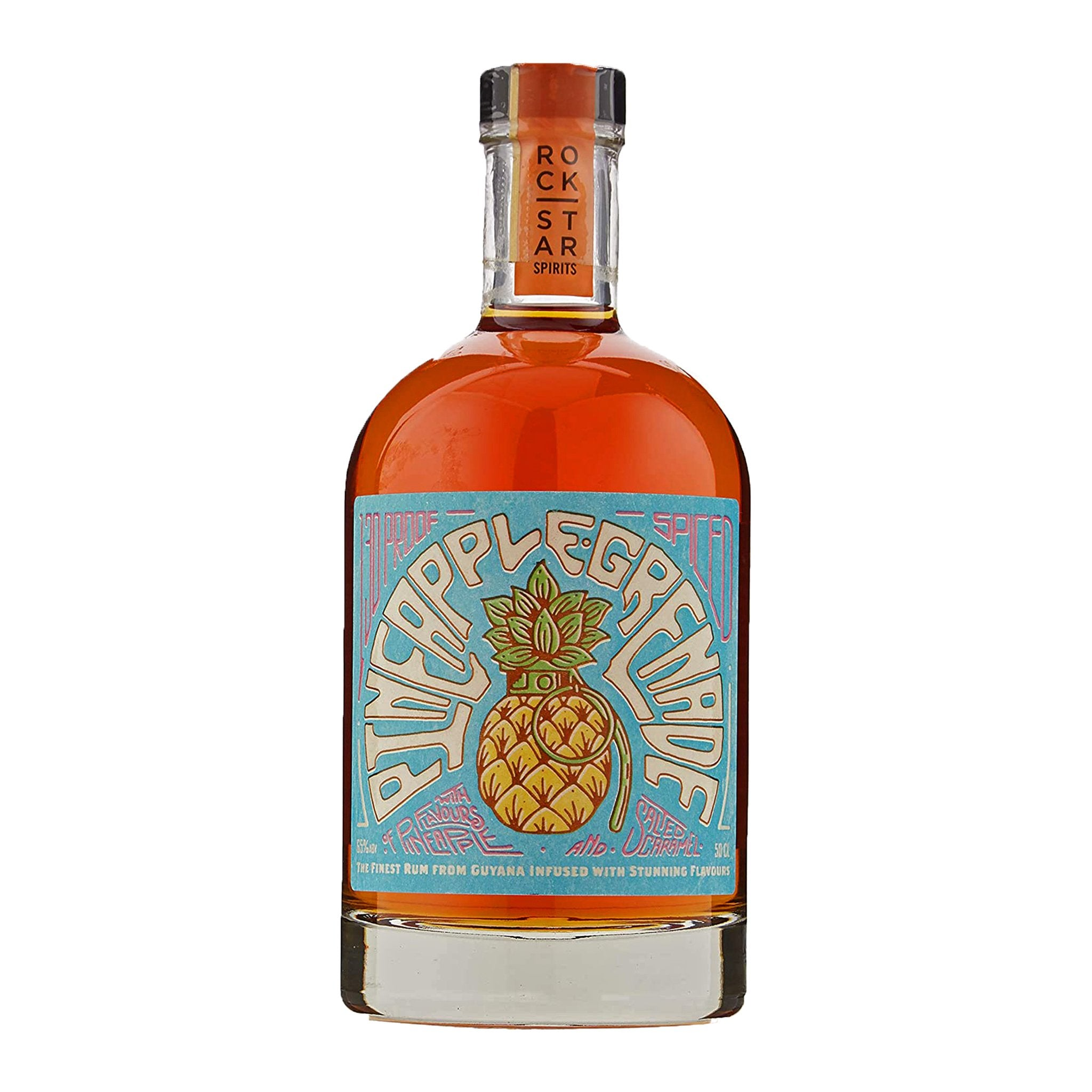 Rockstar Spirits Pineapple Grenade Spiced with Flavours of Pineapple and Salted Caramel 50cl, Rum by Drinks Shop