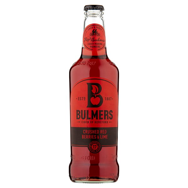 Bulmers Crushed Red Berries & Lime Cider 500ml Bottle Case of 12 by Drinks Shop
