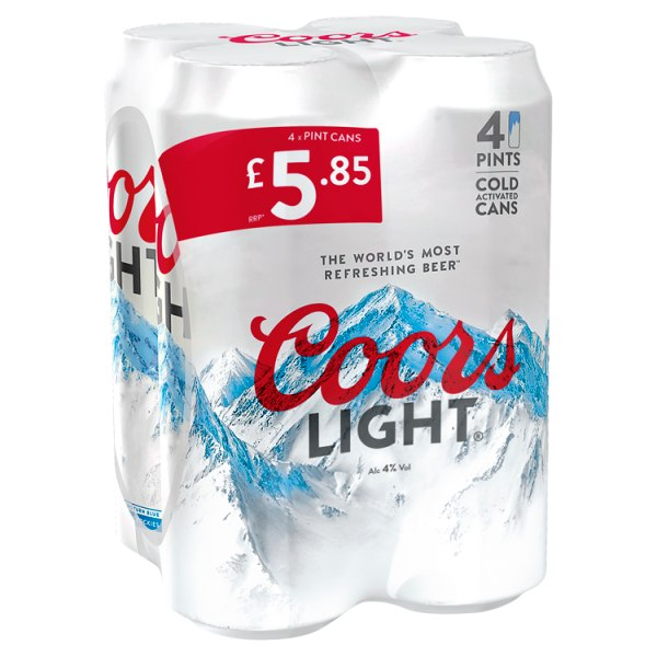 Coors Light Lager Beer 4 - Case of 6 by Drinks Shop