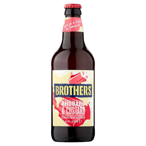 Brothers Rhubarb & Custard English Cider 500ml Case of 8, Alcoholic Beverages by Drinks Shop