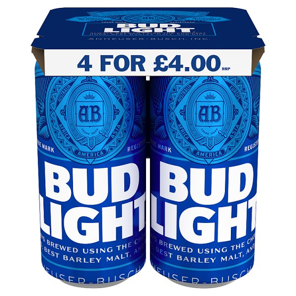 Bud Light Lager Beer 4 x 440ml Case of 6, Beer by Drinks Shop