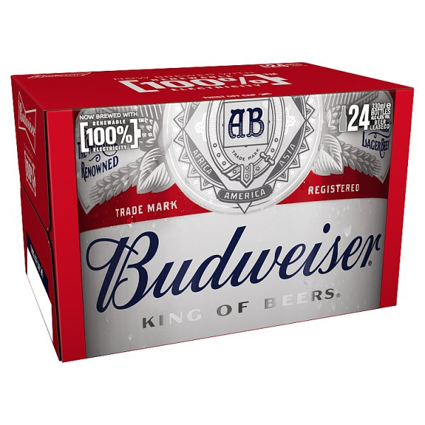 Budweiser Lager Beer Bottles 24 x 300ml Case of 24 by Drinks Shop