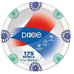 Dixie Paper disposable bowls, 12 oz, flowers