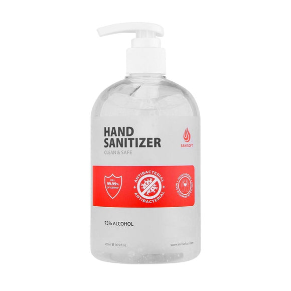 Sanisoft Rinse-Free Antibacterial Hand Sanitizer Gel with Pump, 16.9 Fl Ounce (Pack of 6), 101.4 Fl Ounce