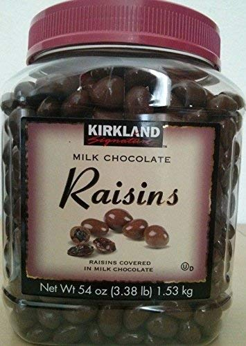 Kirkland Signature Milk Chocolate RAISINS 3.38 LBS (54 Oz) JAR