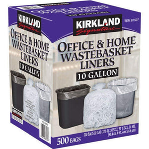 Kirkland Signature-87507 Wastebasket Liners, Clear, 10 Gallon, 500 ct
