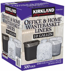 Kirkland Signature Clear Wastebasket Liner Thickness: 0.34 mil,Dimensions: 23 x 25,Depth: 25 in. Width: 23 in 10 Gallon 500 Count