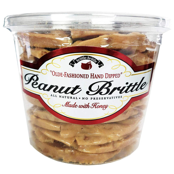 Brittle-Brittle- Old Fashion Hand Dipped Peanut Brittle, 1/2.63lbs Container