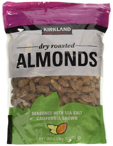 Kirkland Signature Dry Roasted Almonds Seasoned with Sea Salt: 2 Bags of 2.5 Lb
