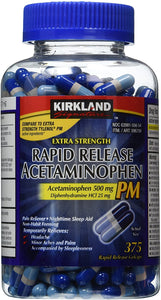 Kirkland Signature Extra Strength Rapid Release Acetaminophen PM 500mg - 375 Gelcaps