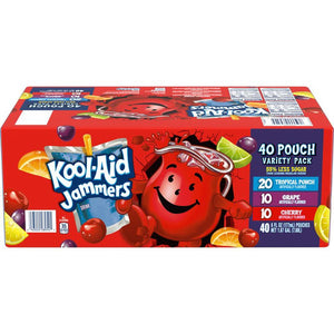 Kool-Aid Jammers Cherry, Grape, Tropical Punch Flavored Juice Drink Variety Pack (40 Pouches)