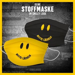 2x Smiley Look Stoffmasken-Bundle