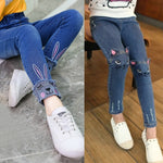Load image into Gallery viewer, Kidlove Girl fashion autumn Jeans long pants Embroidered Kitten Cute Pattern Cat Bunny Jeans Fashion Trousers