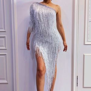 Sexy Tassel Single Shoulder Dress