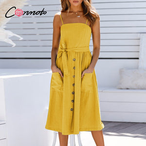 Conmoto spaghetti strap sexy summer dresses women solid pink button pockets casual dress midi beach holiday dresses vestidos