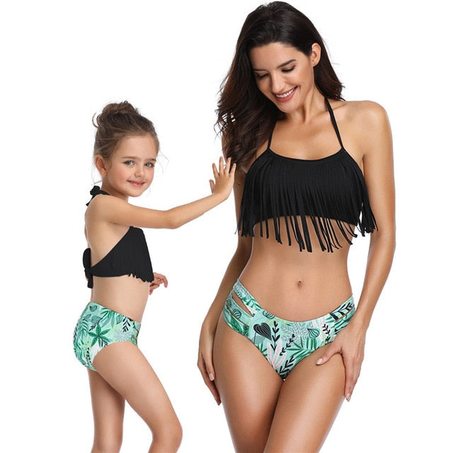 Summer Family Matching Swimwear Mother Daughter Plaid Bikini Bathing Suit Swimwear Family Matching Outfits Kids Mom Swimsuit
