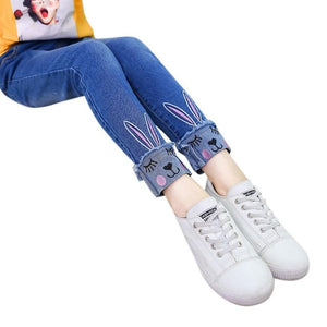 Kidlove Girl fashion autumn Jeans long pants Embroidered Kitten Cute Pattern Cat Bunny Jeans Fashion Trousers