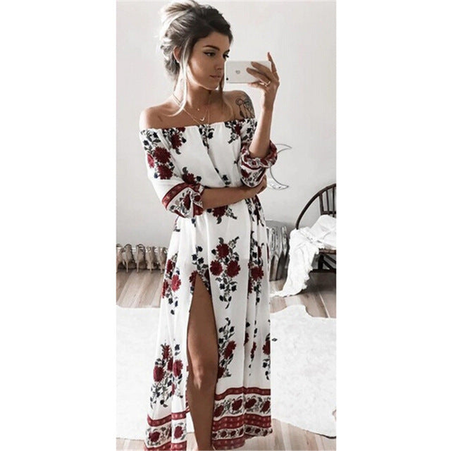 Sexy Off Shoulder Half Sleeve Floral Print