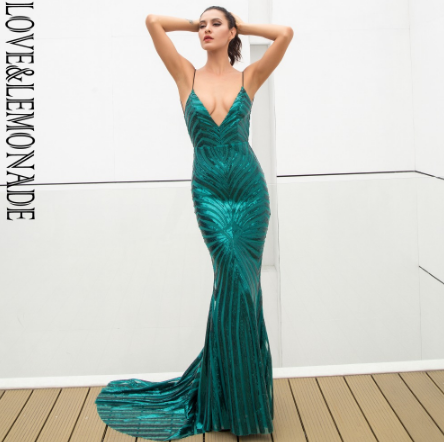 LOVE & LEMONADE Sexy Green Deep V Neck Open Back  Sequins Dress