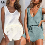 Load image into Gallery viewer, Womail tracksuit women Boho Apricot Knitted Suits Women Loose Tops Shorts Elegant 2 Pieces Set Summer Beach Bikini Romper 2020