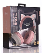 Load image into Gallery viewer, Cat Ear Bluetooth 5.0 Headphones LED Noise Cancelling Girls Kids Cute Headset Support TF Card Jack 3.5mm Mic Wireless Headphones