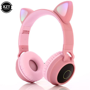 Cat Ear Bluetooth 5.0 Headphones LED Noise Cancelling Girls Kids Cute Headset Support TF Card Jack 3.5mm Mic Wireless Headphones