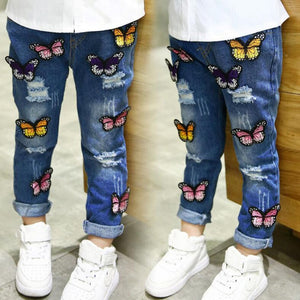 Children's clothing girls spring and autumn jeans butterfly hole baby denim trousers children jeans new style fashion