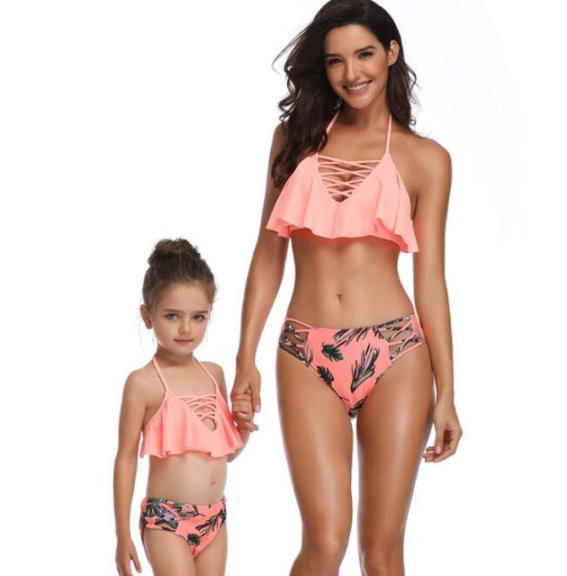 2020 New Leopard Print Family Matching Mother Daughter Swimsuits