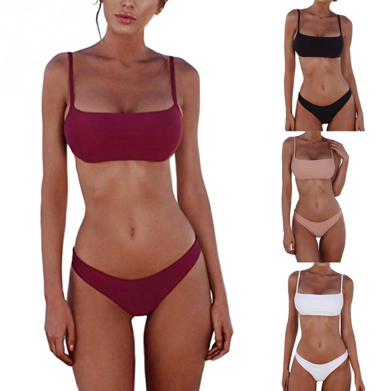 Solid Bikini Push-up UnPadded Bra Swimsuit