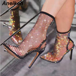 Load image into Gallery viewer, Aneikeh 2020 Spring Sexy Bling CRYSTAL Mesh Pumps Shoes Woman Fetish Thin High Heel PVC Pointed end Stripper Slip-On Party Shoes