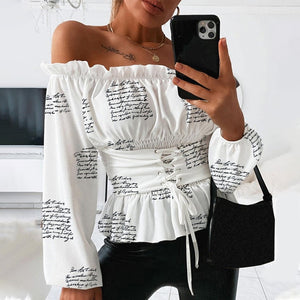 Sexy Women's Off Shoulder Letter Print Blouse Lace Up Ruffle Lantern Sleeve Female Tops 2020 Summer Fashion Ladies Blouses