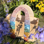 Load image into Gallery viewer, Summer Pearl Rainbow Bag Luxury Diamond Handle Handmade Beaded Straw Bags Holiday Beach