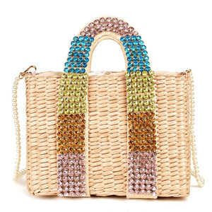 Summer Pearl Rainbow Bag Luxury Diamond Handle Handmade Beaded Straw Bags Holiday Beach