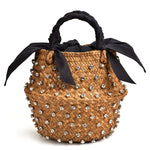 Load image into Gallery viewer, Handmade Embellished Straw Summer Holiday Beach Bag with Pearl Ladies Woven Bucket Diamond Designer