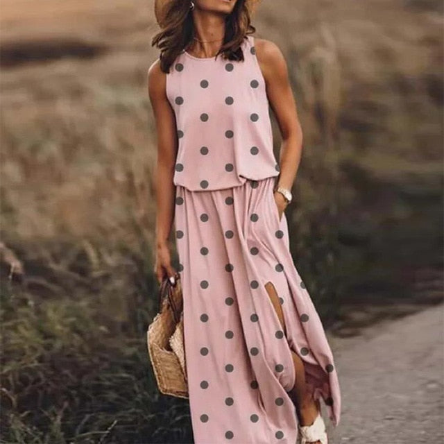Sexy Sleeveless Split Long Summer Elegant Women O-Neck Beach Party Dress Spring Vintage Dot