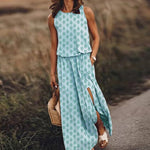 Load image into Gallery viewer, Sexy Sleeveless Split Long Summer Elegant Women O-Neck Beach Party Dress Spring Vintage Dot