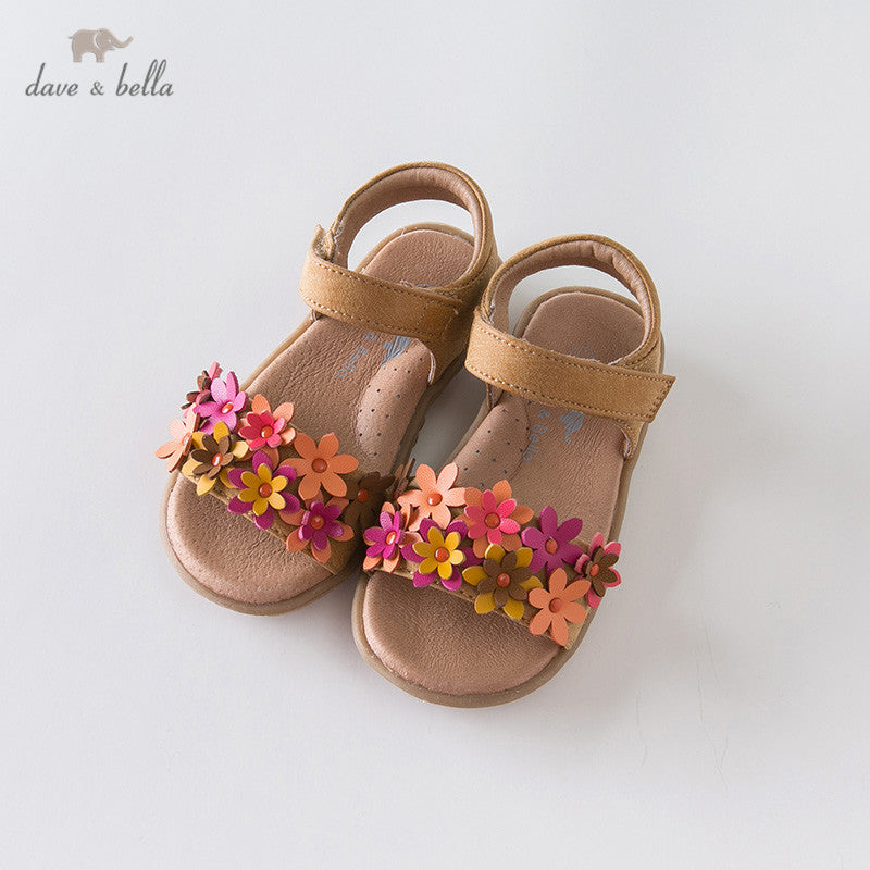 Bella summer baby girls fashion floral appliques shoes