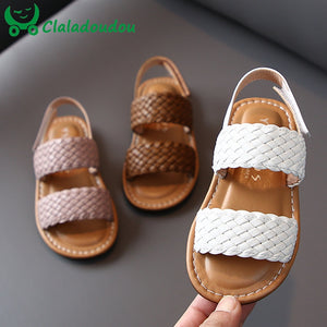 14-19cm Kids Girls Weave Sandals White Brown Solid Soft Toddler Girlz Casual Beach Sandals 0-6Years Baby Summer Shoes Flats