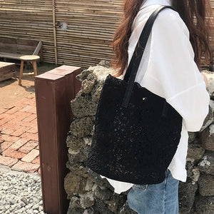 2020 New Summer 2 Pcs/Sets Chic girl lace Foldable Travel Beach Bag
