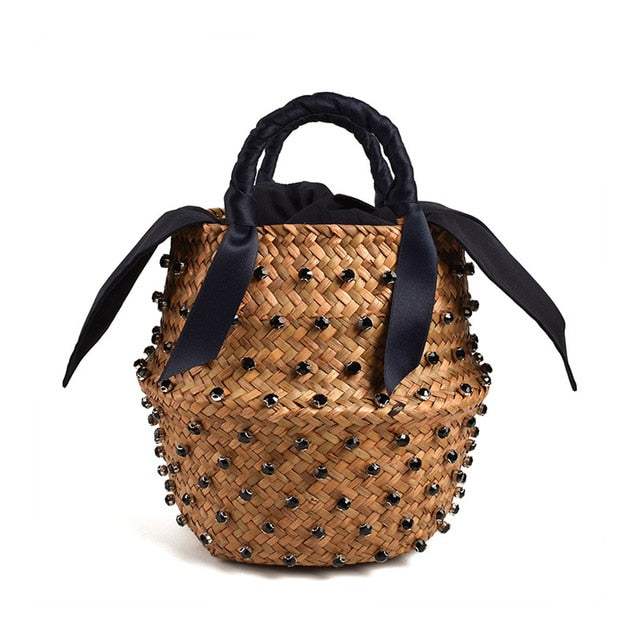 Handmade Embellished Straw Summer Holiday Beach Bag with Pearl Ladies Woven Bucket Diamond Designer