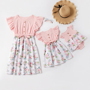 Mom And Daughter Dresses Floral Mother Daughter Dress Baby Girl Romper 2020 Summer Mommy And Me Clothes Family Matching Outfit
