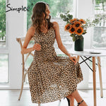 Load image into Gallery viewer, Sexy Leopard thin Strap A-line Female Pleated Midi