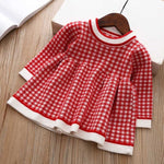 Load image into Gallery viewer, 2020 Winter Autumn Christmas Baby Girls Dress Long Sleeve Plaid Sweater Dress For Girls Birthday Dress Newborn Clothes 3 12 24 M