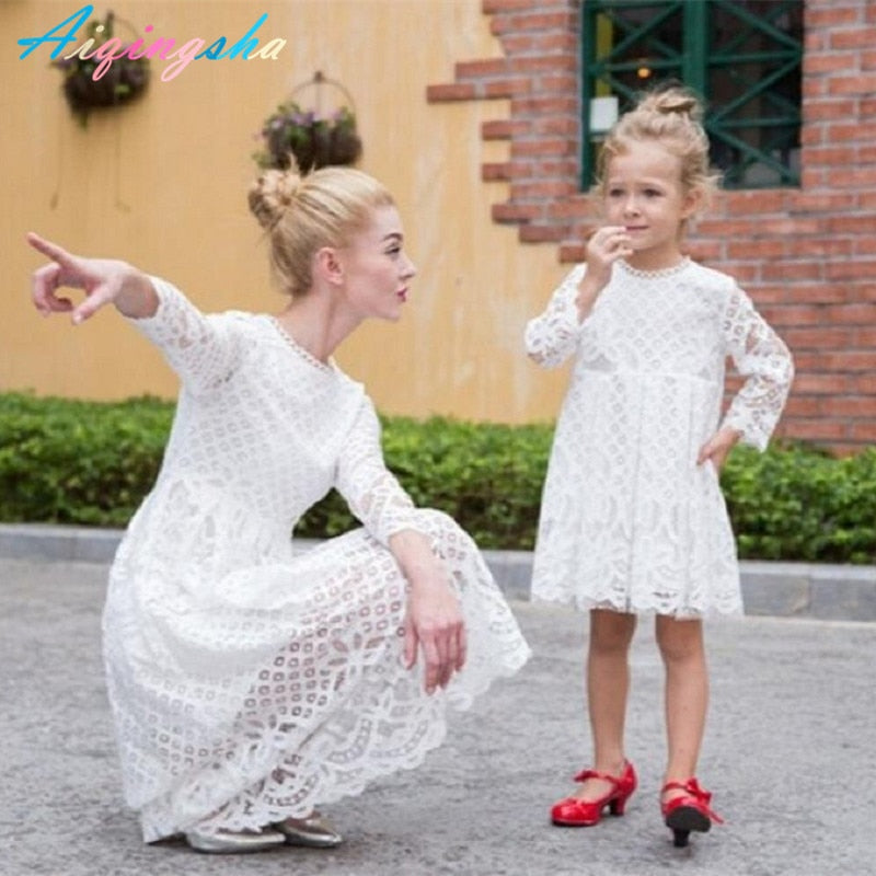 Lace White Princess Dress Mom N daughter