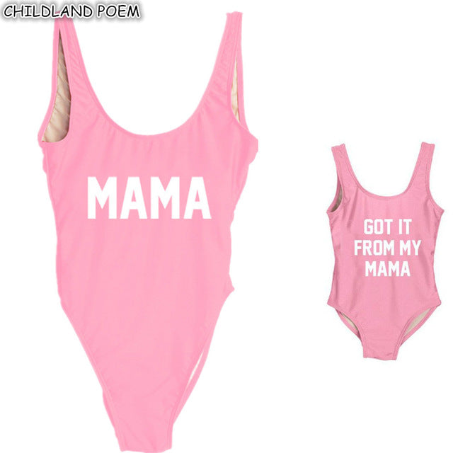 Mother Daughter Swimsuit One-Piece Letter Print