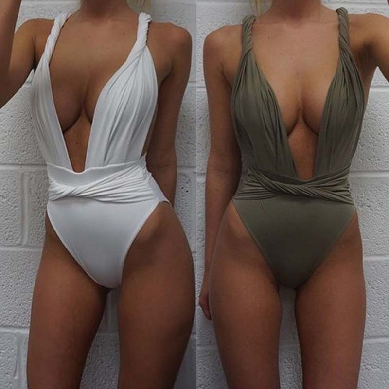 New One Piece Deep v Push Up Sexy Swimsuit