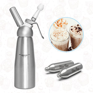 Stainless Steel Blue Flag Whipped Cream Dispensers with nitrous oxide 100 Packs